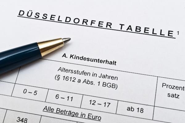 Bild: Die Düsseldorfer Tabelle regelt den Unterhaltsanspruch
